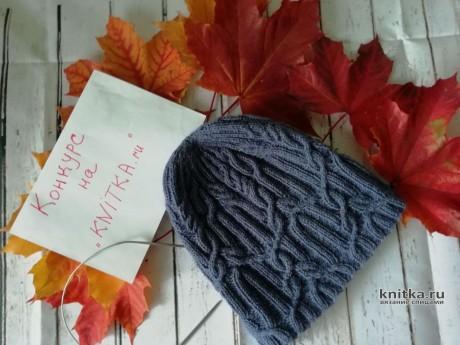 Осенняя шапочка спицами. Работа Елены Васильевой вязание и схемы вязания