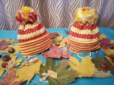 Вязаные шапочки для моих дочек. Работы Ивановой Людмилы. Вязание спицами.