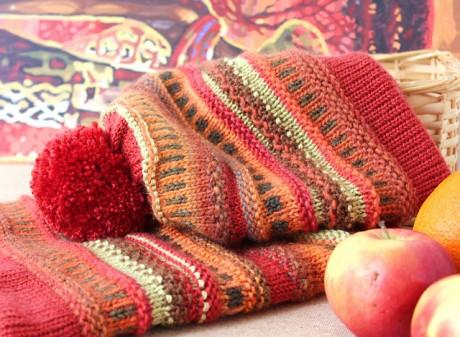 Комплект из шапки-бини и шарф - хомут спицами