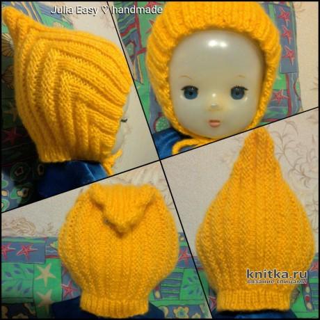 Детская шапочка и пинетки спицами. Работа Julia Easy вязание и схемы вязания