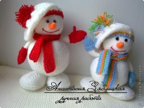 Мастер - класс по вязанию снеговика спицами от Анастасии Зяблицкой
