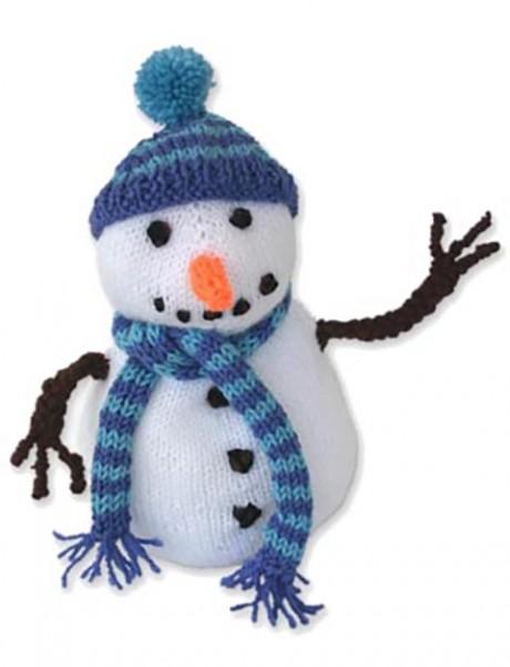 Снеговик с шарфом связан спицами