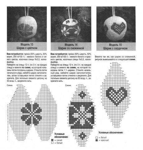 Жаккардовые новогодние шары спицами