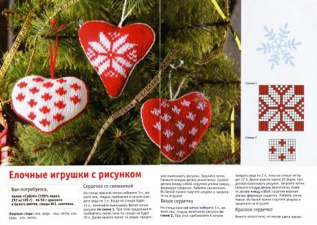Новогодние игрушки сердечки спицами, описание работы