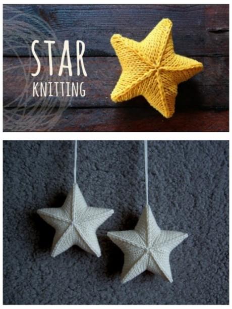 Новогодняя игрушка Звезда связана спицами