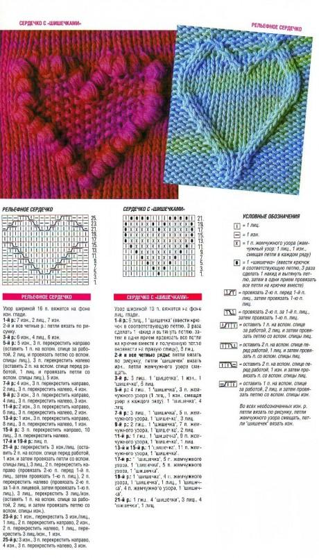 """Схема вязания узора спицами """"объемное сердечко"""""""