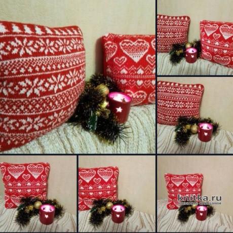 Диванная подушка, связанная спицами. Работа Елены вязание и схемы вязания