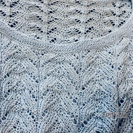 Кофточка серо-голубая связана спицами. Работа Ольги Кириченко вязание и схемы вязания