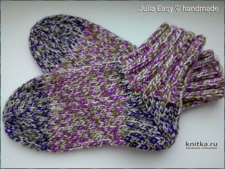 Меланжевые носки с пяткой БУМЕРАНГ спицами. Работа Julia Easy вязание и схемы вязания