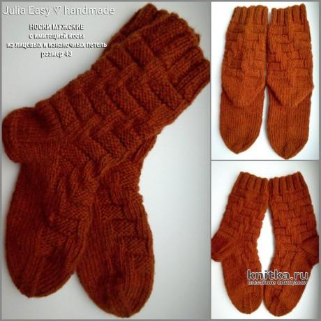 Носки мужские IMITATION BRAIDS спицами. Мастер - класс от Julia Easy. Вязание спицами.