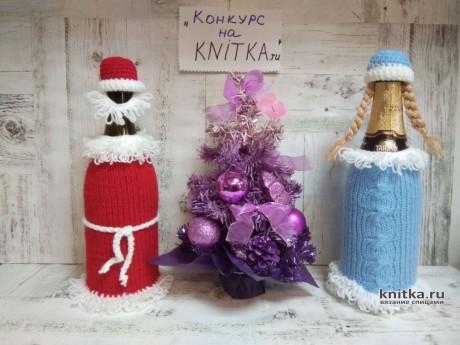 Праздничный чехол на бутылку шампанского. Работа Ирины Ивановой вязание и схемы вязания