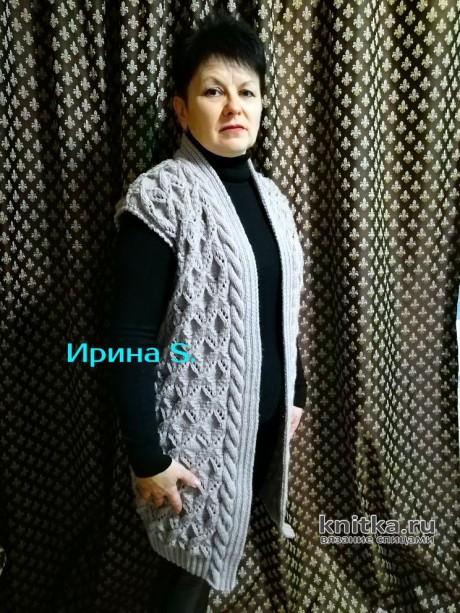 Женский длинный жилет. Работа Ирины Стильник. Вязание спицами.