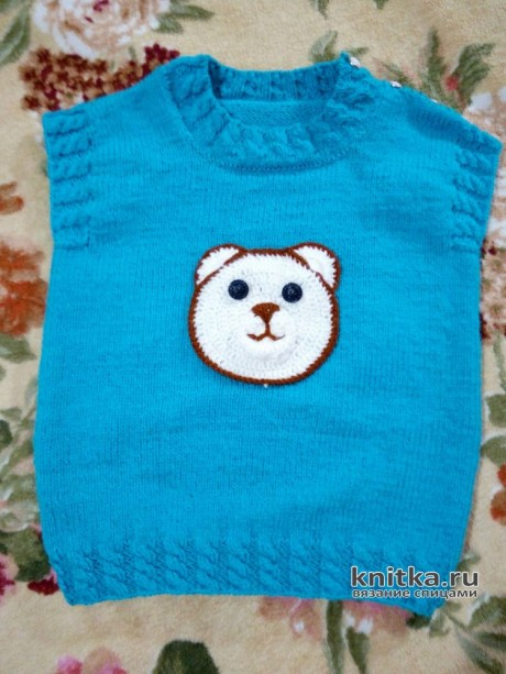 Жилетка для малыша спицами. Работа Ирины Стильник. Вязание спицами.