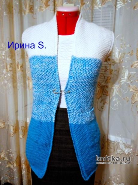 Жилетка градиент для девочки 13 лет. Работа Ирины Стильник вязание и схемы вязания