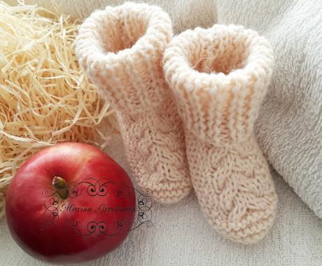 Носки - пинетки спицами. Вязание спицами.