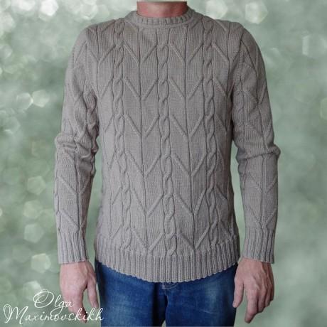 Как связать мужской пуловер с рельефным узором