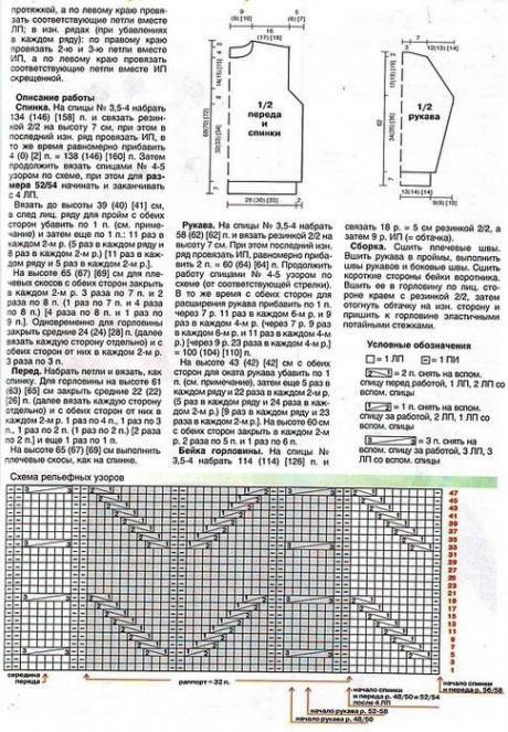 Описание и схемы мужского пуловера
