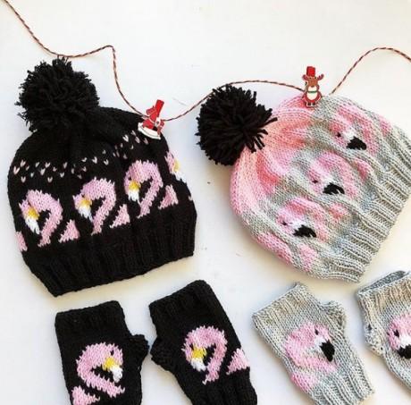 Жаккардовый узор Фламинго для шапочек, варежек и свитеров