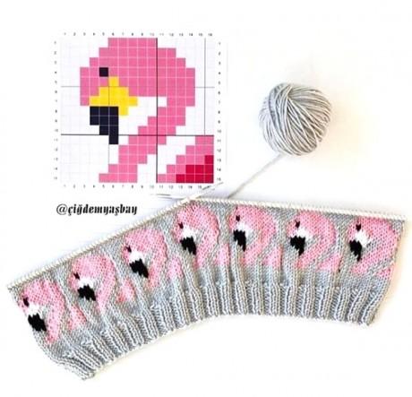 Жаккардовый узор розовый Фламинго для шапочек, варежек и свитеров