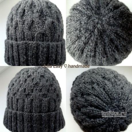 Двухсторонняя мужская шапка спицами. Работа Julia Easy вязание и схемы вязания