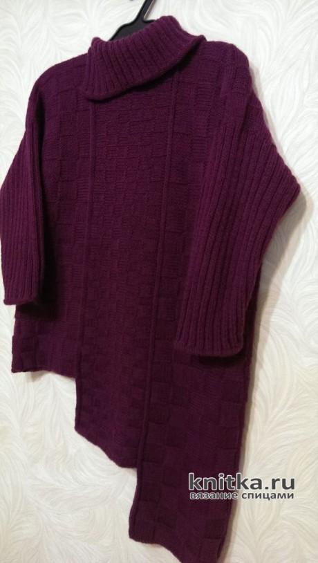 Модный женский свитер с шахматным узором. Работа Эвелины Никандровой вязание и схемы вязания