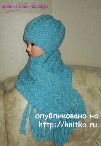"""Узор """"коса"""" для шарфа спицами, работа Ольги"""