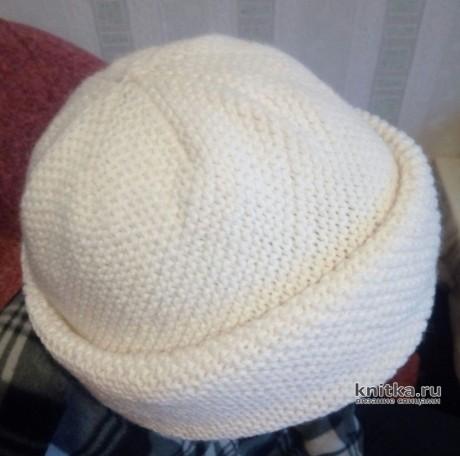 Женская шапка спицами, связанная по диагонали. Работа Ольги вязание и схемы вязания