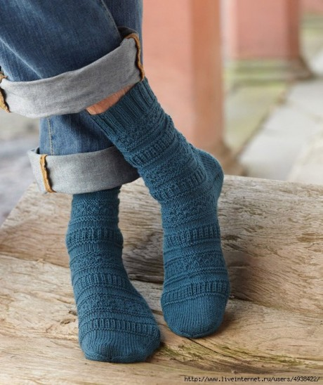 """Мужские носки с рельефными узорами и пяткой """"бумеранг"""""""