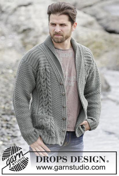 Мужской пуловер спицами на пуговицах