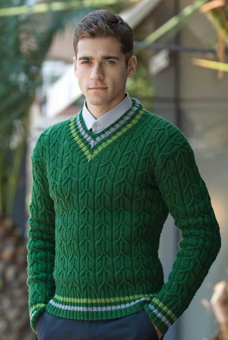 Элегантный мужской пуловер спицами