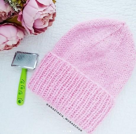 Как связать спицами шапку из ангоры