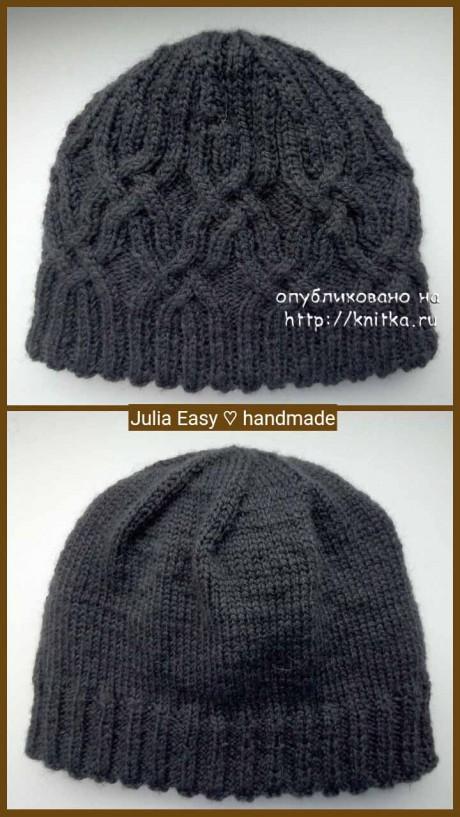 Двойная шапка с кельтским узором. Работа Julia Easy. Вязание спицами.