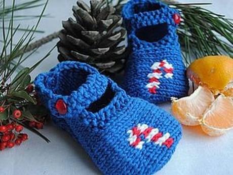 Детские тапочки - туфельки с конфеткой спицами