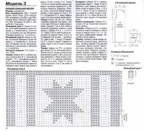 описание и схемы спального мешка спицами