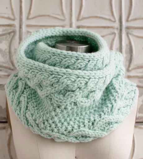 Ментоловый шарф - хомут спицами