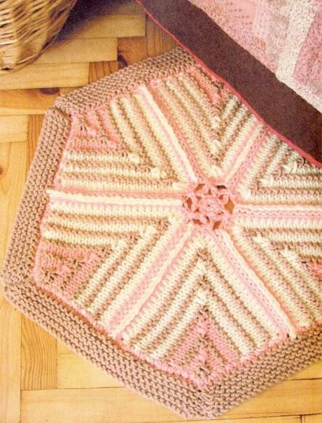 Коврик – шестиугольник, вязание для дома