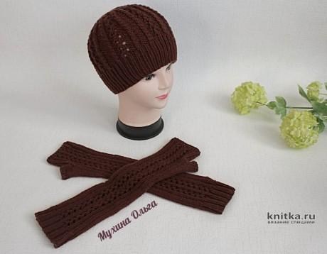 Шапочка и удлиненные митенки спицами. Работы Мухиной Ольги вязание и схемы вязания