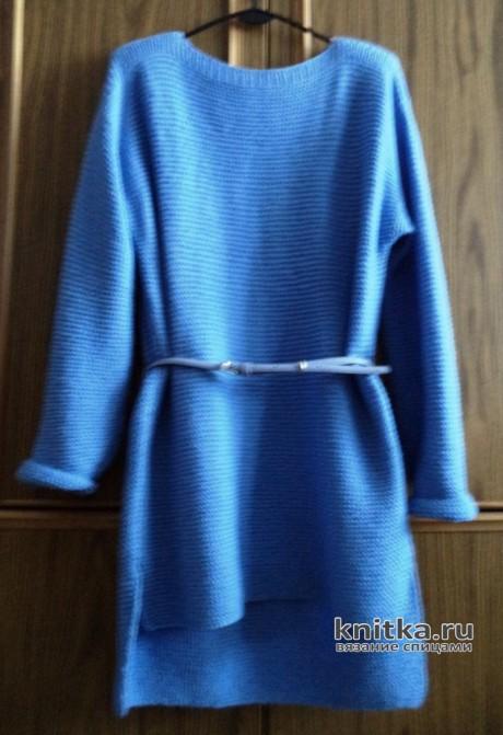 Туника с шарфом. Работа Анны. Вязание спицами.