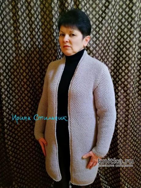 Женский кардиган спицами с узором соты. Работа Ирины Стильник вязание и схемы вязания