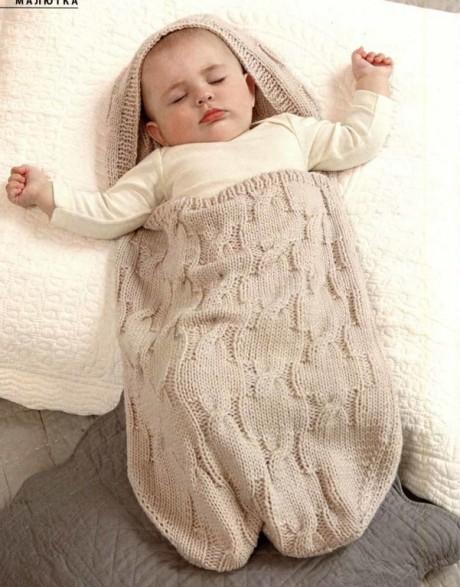Конверт из шерсти для новорожденного спицами