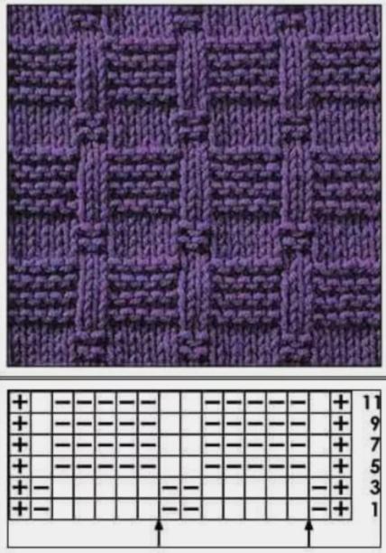 Схемы вязания теневых узоров спицами
