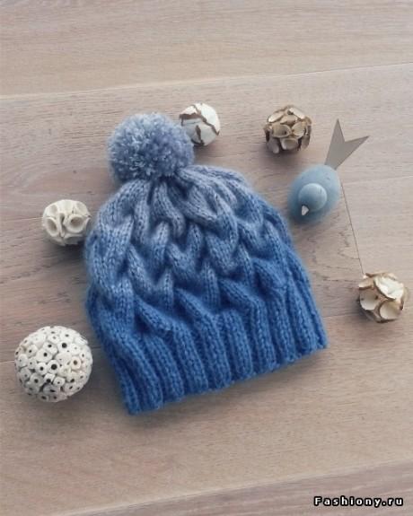 Мастер - класс по вязанию шапки с косами и эффектом градиент спицами