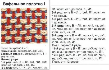 Двухцветные узоры спицами, схемы вязания Двухцветный ленивый жаккард спицами, схемы вязания