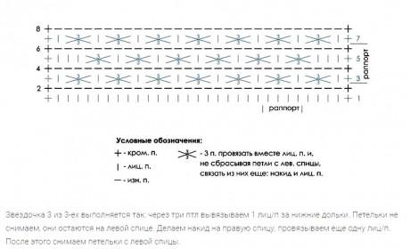 Схема узора Звездочки три из трех