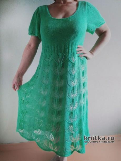 Ажурное платье спицами. Работа Вагановой Татьяны. Вязание спицами.
