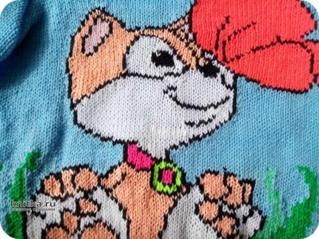 Детский свитер спицами. Работа Ольги вязание и схемы вязания