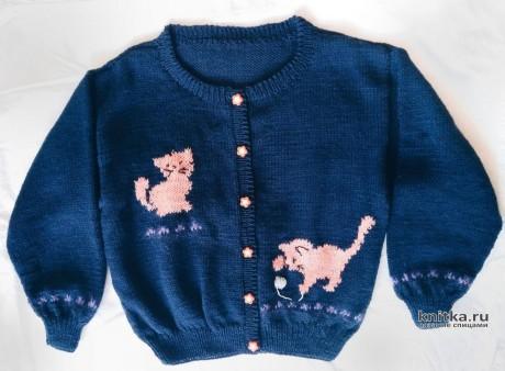Кофточка спицами Веселые котята. Работа Вагановой Татьяны вязание и схемы вязания