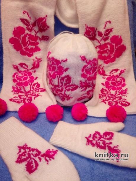 Комплект спицами Розы на снегу. Работа Ольги вязание и схемы вязания