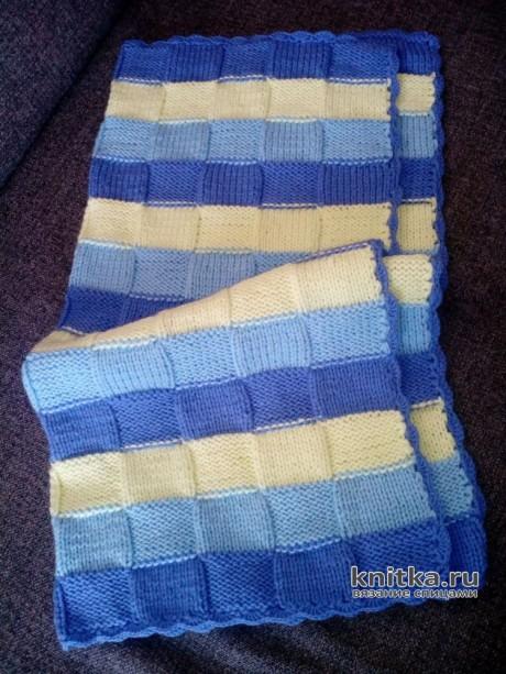 Покрывало для малыша спицами. Работа Елены Беляевой. Вязание спицами.