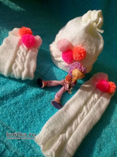 Шапочка и гетры для девочки спицами. Работа Ольги вязание и схемы вязания